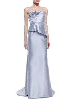 Carmen Marc Valvo Strapless Ruffle-Bodice Beaded-Waist Gown, Silver