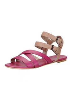 Lanvin Double-Buckle Flat Strappy Sandal, Nude/Fuchsia