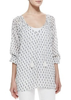 Liana Tie-Neck Printed Blouse   Liana Tie-Neck Printed Blouse