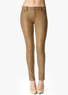 The Seamed Skinny in Crackled Leather-Like Cognac