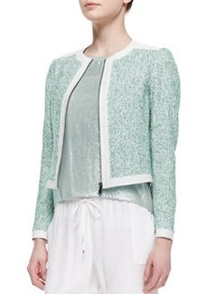Elie Tahari Pearson Cropped Zip-Front Jacket, Multicolor