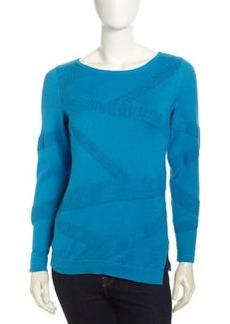 Lafayette 148 New York Zigzag Textured Sweater, Cerulean