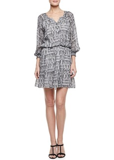 Shoshanna 3/4-Sleeve Printed Peasant Dress