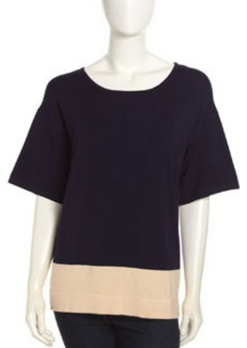 Isaac Mizrahi Colorblock Knit Scoop-Neck Top, Navy/Cream