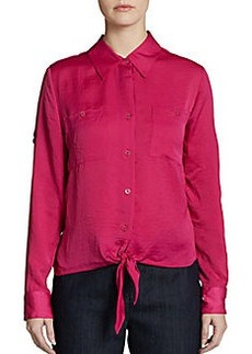 Ellen Tracy Long-Sleeve Satin Tie-Front Shirt