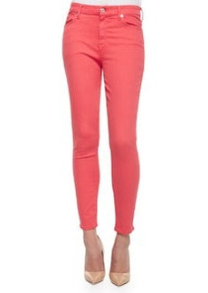 7 For All Mankind High-Rise Skinny Ankle Jeans, Coral