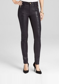 7 For All Mankind Jeans - Mixed Pieced Faux Leather Skinny in Black