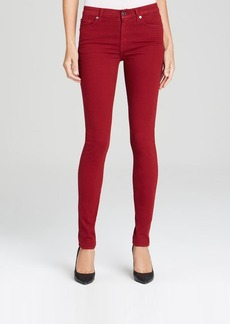 7 For All Mankind Jeans - The Brushed Sateen Mid Rise Skinny in Cranberry