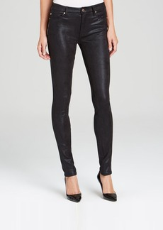7 For All Mankind Jeans - The High Waist Skinny in Black Metallic Twill