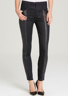7 For All Mankind Jeans - The Skinny Quilted Leather Sides in Black