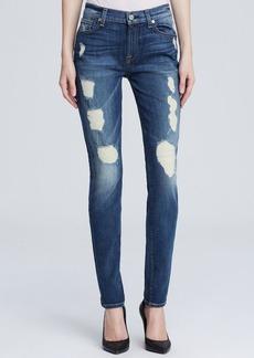 7 For All Mankind Jeans - The Skinny Super Destroy in Destroyed Deep Indigo