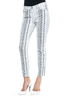 7 For All Mankind Reptile-Print Ankle Skinny Jeans