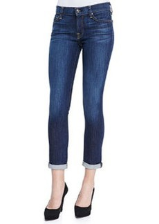 7 For All Mankind Skinny Cropped & Rolled Jeans, Powdered Blue