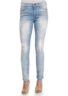 7 For All Mankind The Skinny Bleached & Destroyed Denim Jeans