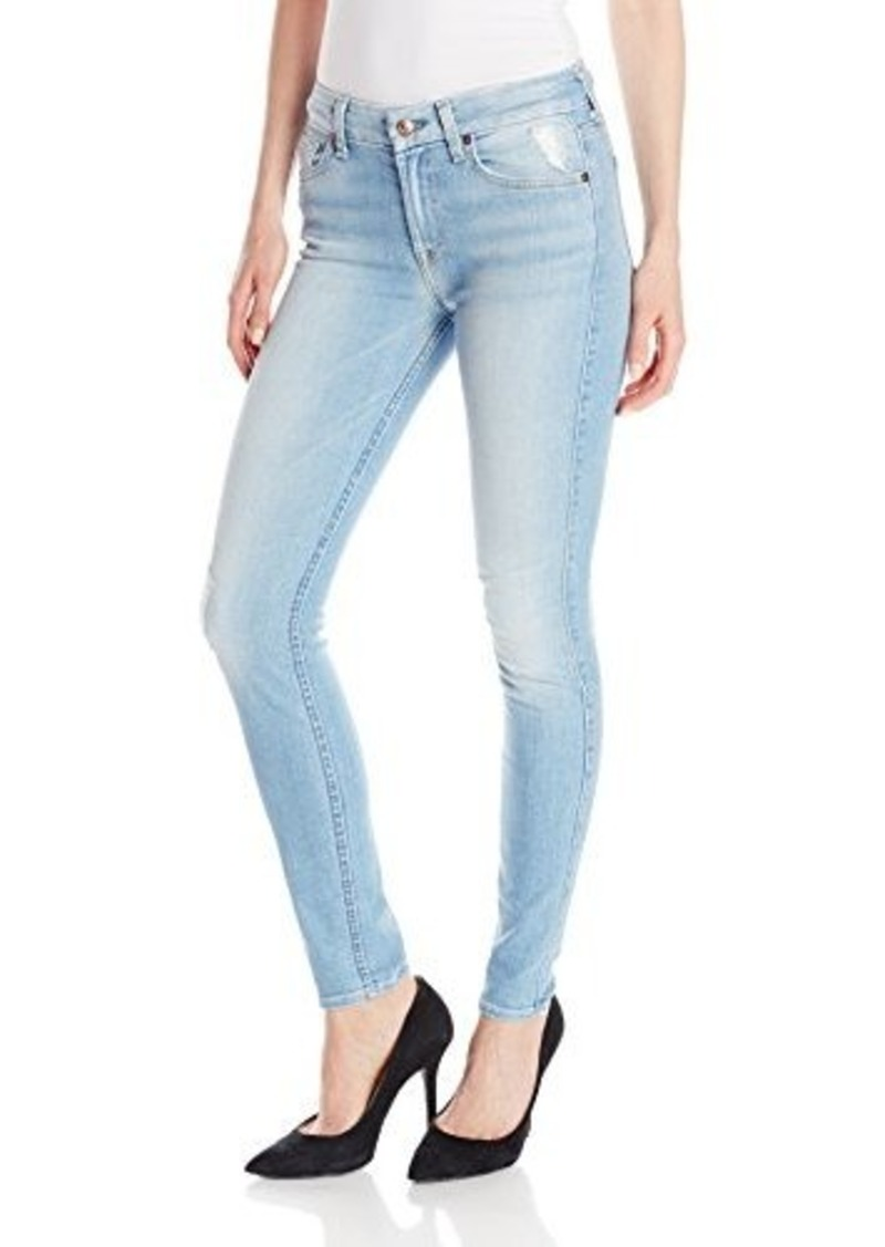 7 for all mankind 7 for all mankind women 39 s skinny jean with knee hole and bleach denim shop. Black Bedroom Furniture Sets. Home Design Ideas