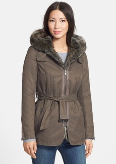 7 For All Mankind® Coated Cotton Parka with Removable Faux Fur Lining
