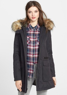 7 For All Mankind® Faux Fur Trim Coated Twill Anorak