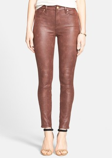 7 For All Mankind® Faux Leather Skinny Jeans (Wine Crackle) (Nordstrom Exclusive)