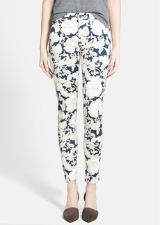 7 For All Mankind® Floral Skinny Ankle Jeans (White/Navy Floral)