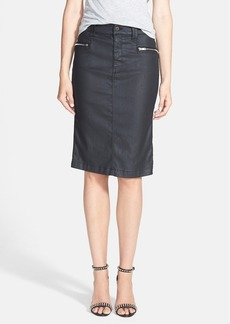 7 For All Mankind® High Waist Coated Denim Pencil Skirt (Black Jeather)