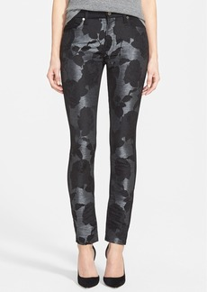7 For All Mankind® Pieced Skinny Jeans (Black Grey Floral Shantung)