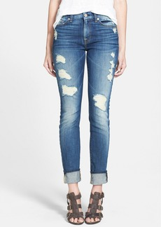 7 For All Mankind® Skinny Jeans (Destroyed Deep Indigo)