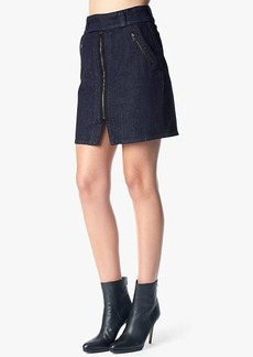 A-Line Skirt With Zips in Pure Dark Rinse