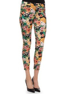 Cropped Floral-Tropics-Print Skinny Jeans   Cropped Floral-Tropics-Print Skinny Jeans