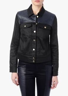Denim Jacket With Quilted Leather Yoke in Black
