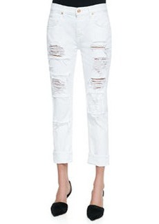 """Destroyed Patch Relaxed Slim """"Play Dirty, Stay Spotless""""  Jeans, White   Destroyed Patch Relaxed Slim """"Play Dirty, Stay Spotless""""  Jeans, White"""