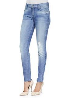 Distressed Faded Skinny Ankle Jeans, Striking Indigo   Distressed Faded Skinny Ankle Jeans, Striking Indigo