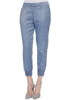 Draped Ankle Pants with Smocked Hem, Chambray   Draped Ankle Pants with Smocked Hem, Chambray