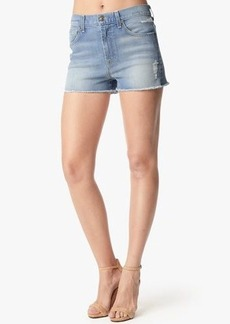 "Extreme High Waist Distressed Short with Raw Hem in Light Sky 2 (2 1/2"")"