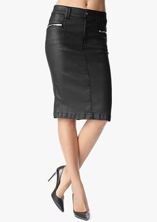 Fashion High Waist Pencil Skirt with Zips in Black Jeather