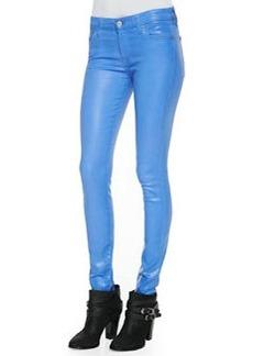 Gummy Skinny Denim Jeans, Coated Blue Topaz   Gummy Skinny Denim Jeans, Coated Blue Topaz