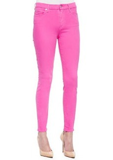 High-Waist Ankle Skinny Jeans, Fuchsia   High-Waist Ankle Skinny Jeans, Fuchsia