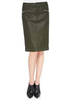 High-Waist Waxed Pencil Skirt, Olive   High-Waist Waxed Pencil Skirt, Olive
