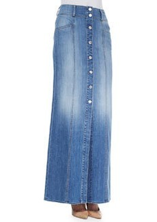 7 For All Mankind Long Button-Front Denim Skirt, Washed Genuine Blue