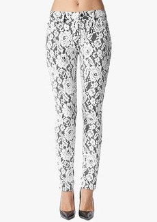Mid Rise Skinny in White Lace on Black