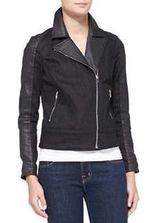 Mixed-Fabric Moto Jacket   Mixed-Fabric Moto Jacket