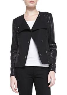 Mixed-Fabric Snap Jacket   Mixed-Fabric Snap Jacket