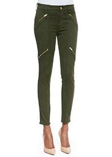 Panel Zip Skinny Moto Pants, Olive Sateen   Panel Zip Skinny Moto Pants, Olive Sateen