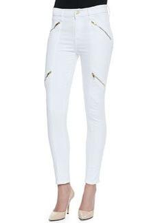 Panel Zip Skinny Moto Pants, White Sateen   Panel Zip Skinny Moto Pants, White Sateen