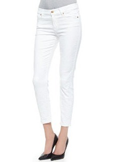 Pieced Cropped Skinny Jeans, White   Pieced Cropped Skinny Jeans, White