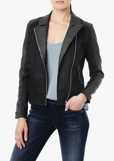 Pieced Moto Jacket in Jeather and Black Denim
