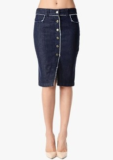 Raw Edge Button Front Pencil Skirt in Raw Edge Denim