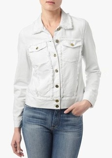 Raw Edge Denim Jacket with Pearlized Buttons in White Fashion