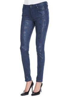 Snake-Print Coated Skinny Jeans, Navy   Snake-Print Coated Skinny Jeans, Navy