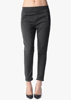 Soft Pant with Cuffed Hem in Grey Enzyme Twill