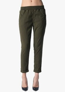 Soft Pant with Cuffed Hem in Olive Enzyme Twill